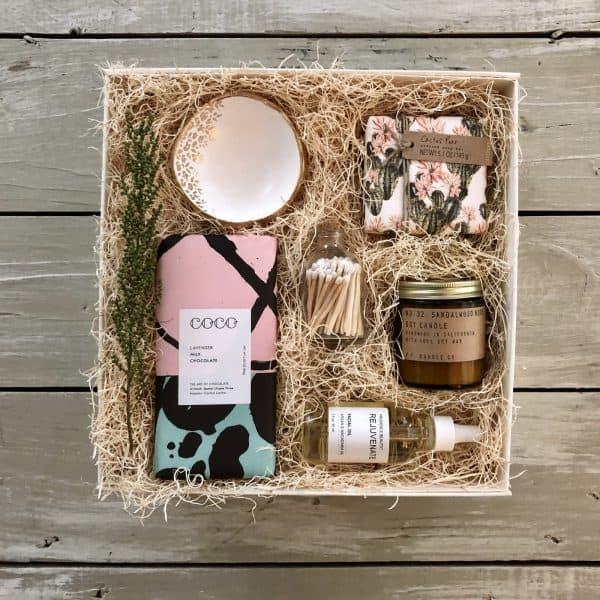 custom gift box with various gift items for women kindred and kel wichita ks
