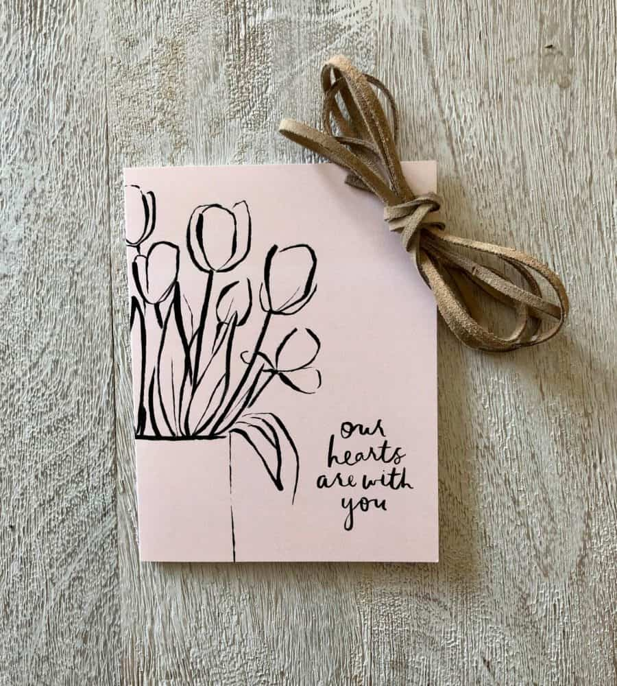 NOTECARD COLLECT AT KINDRED AND KEL READS OUR HEARTS ARE WITH YOU