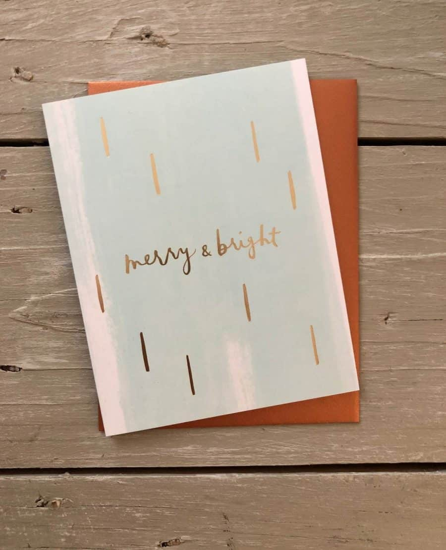 KINDRED AND KEL NOTECARD COLLECTION CARD READS MERRY AND BRIGHT