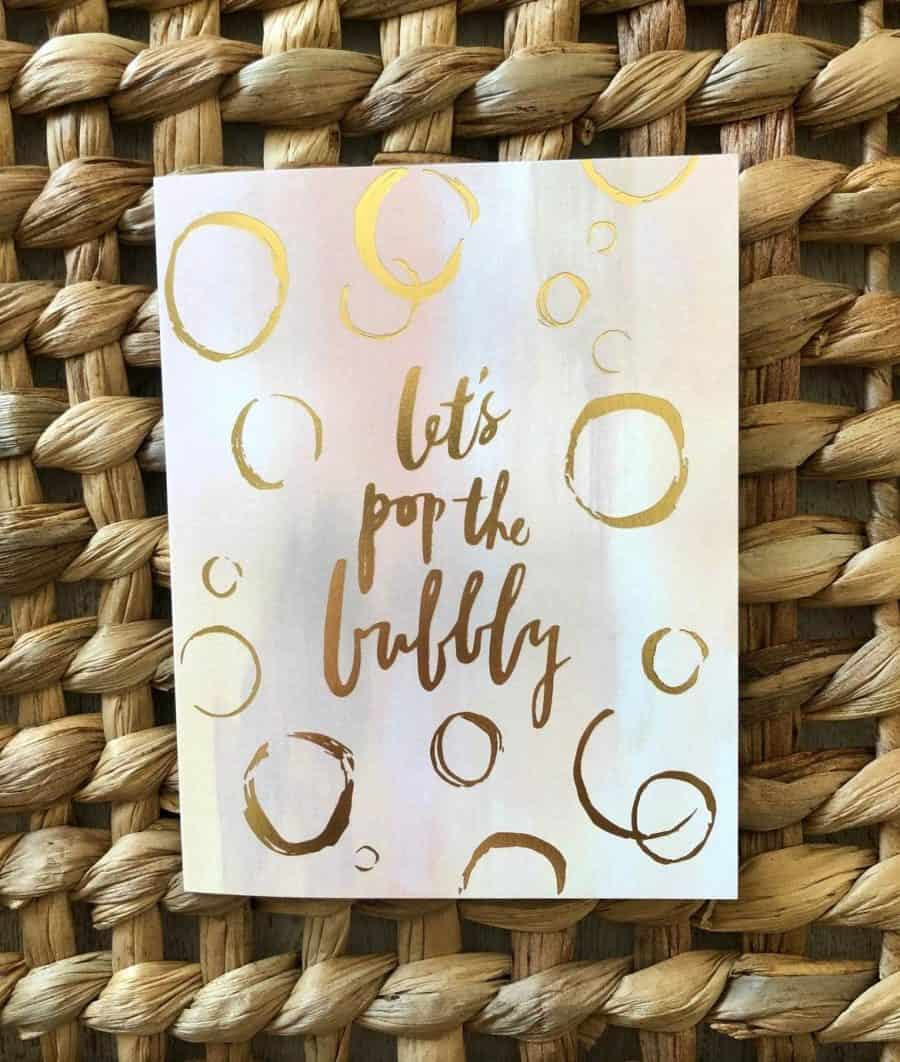 LETS POP THE BUBBLY NOTE CARD COLLECT AT KINDRED AND KEL WICHITA KS