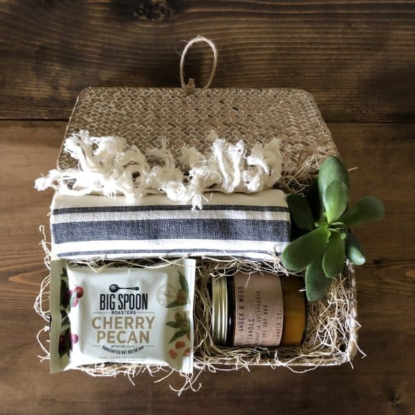 Mothers Day Gift Box Wichita KS Kindred and Kel showing product with candle towel basket and candy