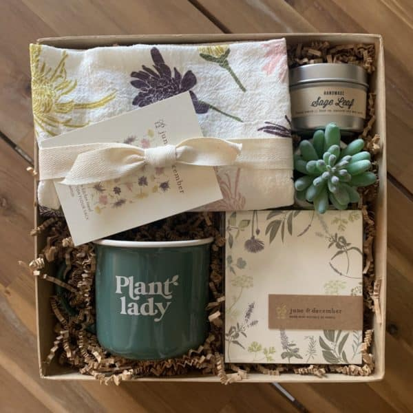 Gift box Plant Lady includes mug, towel, candle and plant