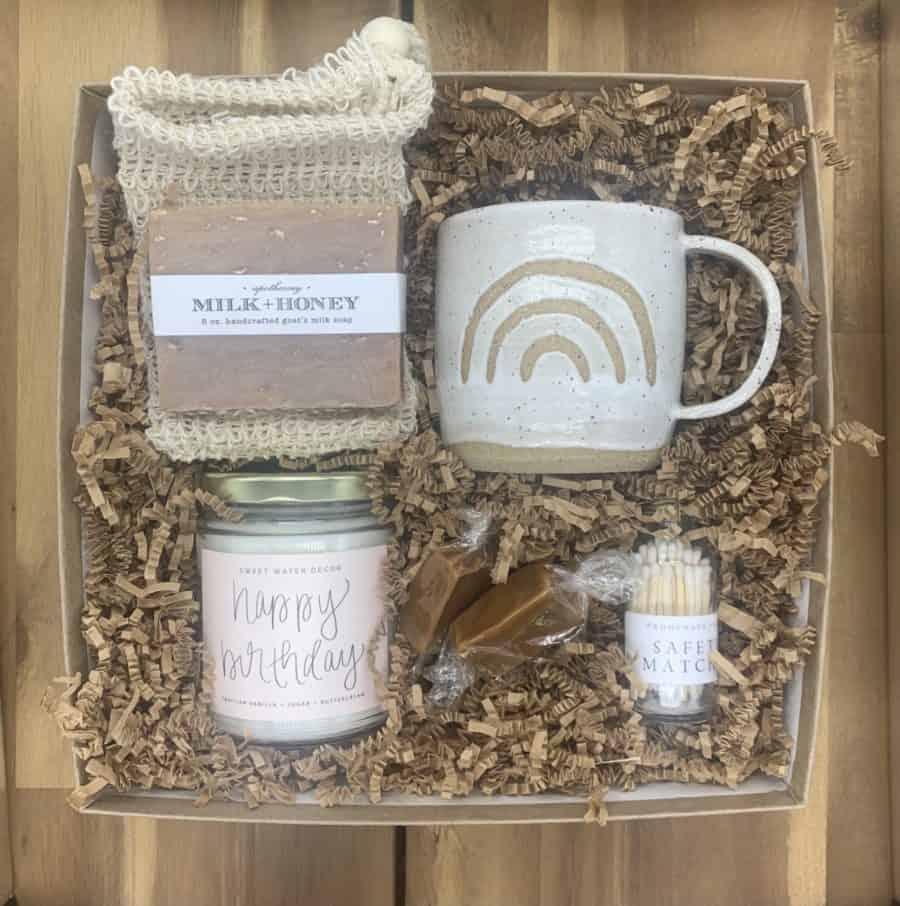 birthday gift box with mug, candy and candle